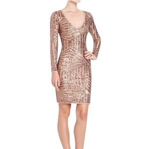 BCBG sequin rose gold night out dress